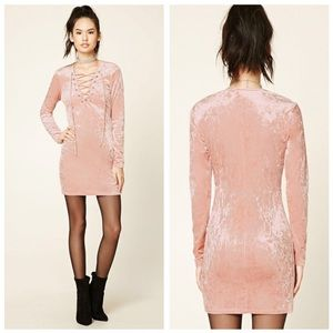 NEW Forever 21 blush pink velvet lace up dress
